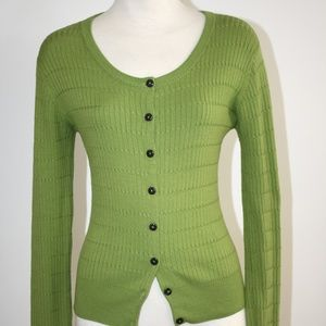 MILLY GREEN SILK BLEND BUTTON DOWN SWEATER SIZE M